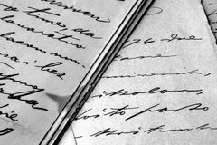 Lettres manuscrites de cru Image stock