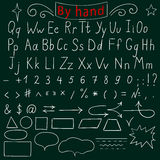Lettres manuscrites, nombre, caractères, formes Alphabet anglais Dessin à la main Illustration de vecteur Photographie stock