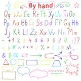 Lettres manuscrites, nombre, caractères, formes Alphabet anglais Dessin à la main Illustration de vecteur Photographie stock libre de droits