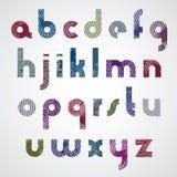 Lettres minuscules frottées colorées grunges, police décorative Illustration Stock