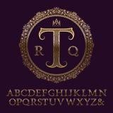 Lettres modelées onduleuses d'or avec le monogramme initial Police élégante Images stock