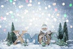 Lettres Noël et décoration de Noël Photographie stock libre de droits