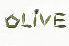 Lettres olives et olives avec des lames Image stock