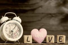 Lettres orthographiant l'amour coeur rose et lettres en bois orthographiant le lo Photo libre de droits