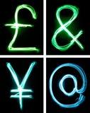 Lettres peintes avec la lumière Image stock