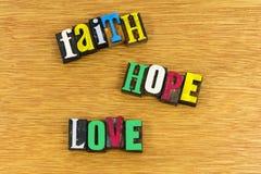 Lettres peintes par amour d'espoir de foi Photos stock