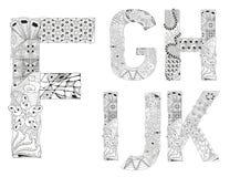 Lettres peu communes de style de griffonnage d'alphabet sur un fond blanc Photographie stock
