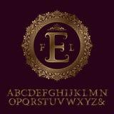 Lettres rayées d'or de zigzag et monogramme initial Photos libres de droits