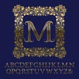 Lettres rayées onduleuses d'or et monogramme initial dans le cadre carré Images libres de droits