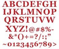 Lettres rouges d'alphabet de scintillement Images libres de droits