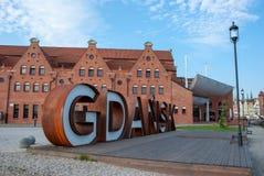Lettres rouillées en métal de Danzig, Pologne images libres de droits
