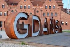 Lettres rouillées en métal de Danzig, Pologne photographie stock libre de droits