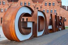 Lettres rouillées en métal de Danzig, Pologne photos libres de droits