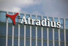 Lettres sur le bureau d'atradius à Amsterdam Photographie stock