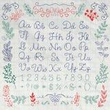 Lettres tirées et nombres d'alphabet anglais dessus Images libres de droits
