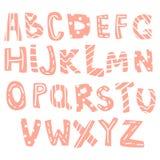 Lettres tirées par la main, alphabet anglais pour des enfants, enfants illustration libre de droits