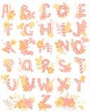 Lettres tirées par la main, alphabet anglais pour des enfants avec des fleurs illustration stock