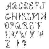Lettres tirées par la main d'ABC, d'isolement sur le fond blanc Images libres de droits