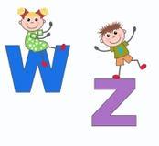 Lettres W et Z de lettres Photographie stock