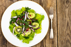 Lettuce with anchovies and pomegranate seeds Stock Image