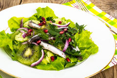Lettuce with anchovies and pomegranate seeds Royalty Free Stock Photos