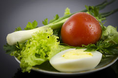 Lettuce, boiled egg tomato, onions Royalty Free Stock Photography