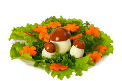 Lettuce and  carrot cutting with mushroom. Carving from lettuce and carrot cutting. Flowers glade Royalty Free Stock Images