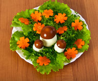 Lettuce and  carrot cutting with mushroom. Carving from lettuce and carrot cutting. Flowers glade Stock Image