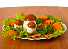 Lettuce and  carrot cutting with mushroom. Royalty Free Stock Photography