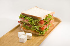 Lettuce, Cheese and Potato Salad Sandwich with Toasted Bread Stock Image