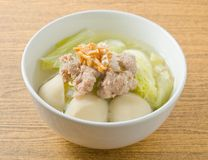 Lettuce Clear Soup with Minced Pork and Fish Meat Ball Stock Image