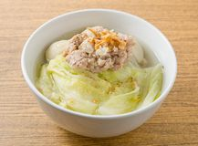 Lettuce Clear Soup with Minced Pork and Fish Meat Ball Stock Photography