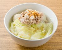 Lettuce Clear Soup with Minced Pork and Meat Ball Stock Image