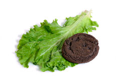 Lettuce or cookies and diet or dessert isolated Stock Image