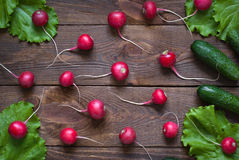 Lettuce, cucumbers  and radishes. Fresh and healthy food Stock Images