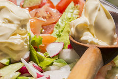 Lettuce, cucumbers, tomatoes, radishes and mayonnaise. Prepare a fresh spring salad of tomatoes and radishes Stock Photography