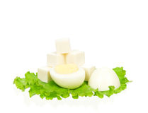 Lettuce with egg Stock Images