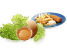 Lettuce and eggs Royalty Free Stock Image