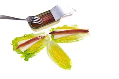 Lettuce hearts with anchovies. Royalty Free Stock Photos
