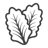 Lettuce line icon, vegetable and salad leaf Royalty Free Stock Photography