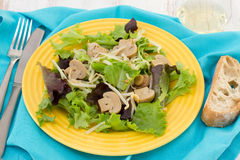 Lettuce with mushrooms and  bean sprouts. On the plate Stock Photo