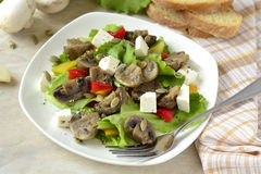 Lettuce with mushrooms, sweet peppers and feta Royalty Free Stock Photography