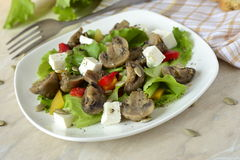 Lettuce with mushrooms, sweet peppers and feta Stock Image