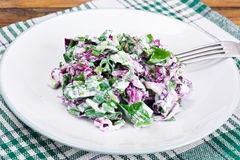 Lettuce, Radicchio and natural low-fat yogurt. Dietary meal Stock Photo