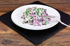 Lettuce, Radicchio and natural low-fat yogurt. Dietary meal Royalty Free Stock Photography