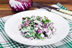 Lettuce, Radicchio and natural low-fat yogurt. Dietary meal Stock Image