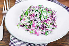 Lettuce, Radicchio and natural low-fat yogurt. Dietary meal Stock Photography