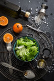 Lettuce Salad with Mandarin Oranges and Basic Dressing Ingredients Royalty Free Stock Image