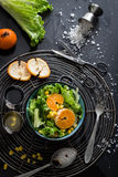 Lettuce Salad with Mandarin Oranges, Sweet Corn and Basic Dressing Ingredients Royalty Free Stock Photography