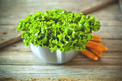 Lettuce salad in metal bowl and carrots Royalty Free Stock Photos
